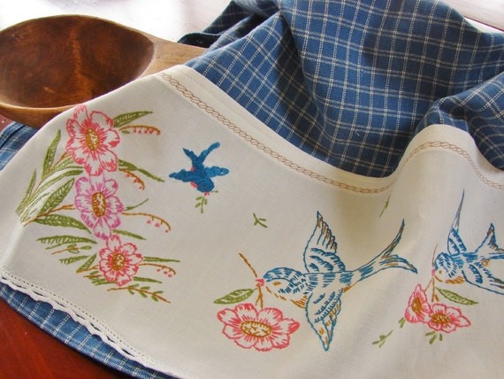 Tea Towel with a Vintage Touch-- Sweet Blue Birds - Vintage Recycled to Upcycled Home Decor