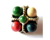 Vintage button, metal jewel button with wood colorful balls