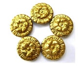 5 Vintage metal buttons, gold color, flower etched ornament, unique, rare, might be collectible, 23mm
