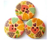 6 Wood  buttons,hearts colorful ornament, 30mm, for button jewelry, scrapbooking, bags, crafts