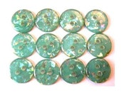 10 Vintage buttons, blue green with indise glitters in assorted colors, 12mm, proper for button jewelry