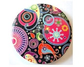 3 Buttons, wood, 40mm,  pink on black ornaments for button jewelry, sewing, crafts