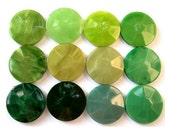 60 Vintage buttons 12 green shades,  plastic, 18mm