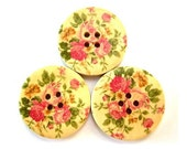 6 Wood  buttons, delicate rose flowers ornament, 30mm, for button jewelry, scrapbooking, bags, crafts