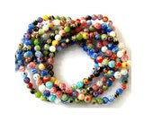Millefiori Glass beads, 6mm, about 300 beads, 5 strands