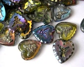 6 Vintage beads, HEART shape,  glass, Czech, carved angel, 12mmX11mm, RARE