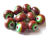 6 Vintage glass buttons brown with green circle metal shank 8mm