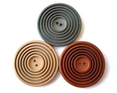 3 Buttons antique vintage plastic carved circles large 44mm, 5mm thick