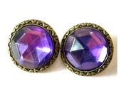 2 Vintage button, metal trim buttons with purple rhinestone, proper for button jewelry, 20mm