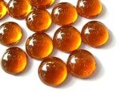 8 Vintage cabochon, translucent glass honey amber color, 11mm, 5mm height