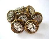 10 Vintage buttons women portrait bronze color plastic with silver color 13mm
