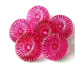 6 Vintage buttons flower shape hand painted in fuschia pink CRYSTAL czech 18mm, for button jewelry