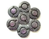 6 Plastic buttons purple with white ornament 28mm