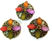 Reserved-8 Vintage flowers beads metal antiqued brass base with assorted colors rhinestones 14mm