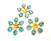 5 Vintage SWAROVSKI beads brass setting flower with blue shade rhinestone crystals 17mm