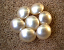 6 Vintage glass pearl cabochon white 8mm