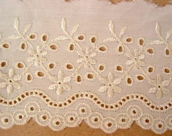 Vintage lace, swiss, high quality trim, cotton lace, 50inch, 3inch wide, cream, RARE