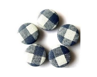 6 Vintage plastic buttons blue and white, slot  pattern 18mm