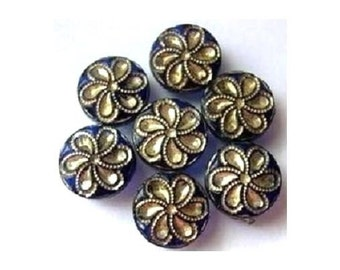 7 glass buttons, flowers, antique, vintage, rare,9mm
