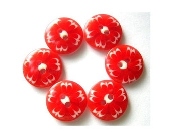 6 buttons, red with white ornament 14.5mm can be use as beads for button jewelry