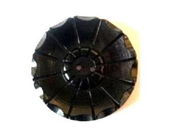 Antique vintage plastic button black flower ART DECO, 30mm