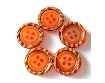 6 Vintage buttons,  plastic buttons, unique orange, 22mm
