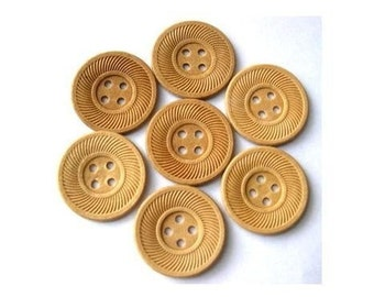 6 Wooden vintage unfinished buttons with ornament, 17.5mm