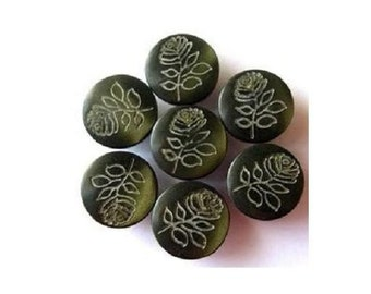 7 Vintage buttons rose flower picture, plastic, can be use as beads, 13mm, olive green