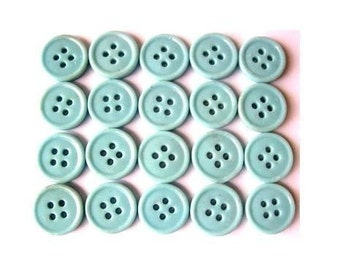 15 glass buttons, antique vintage button bead, baby blue