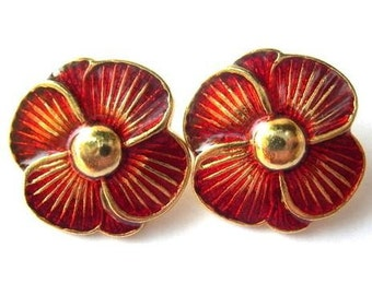 6 Vintage buttons, red flower shape enamel metal 23mm