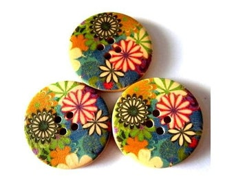 6 Wood buttons, colorful flowers ornament, 30mm