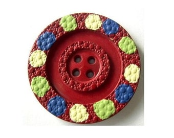6 Buttons, antique, vintage, plastic, dots ornament, 27mm