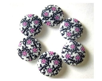 6 Buttons, plastic ,new, white with pink flower and black ornaments, 18mm