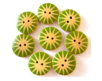 8 wood buttons 18mm,beautiful floral ornament ,18mm