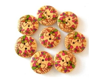12 wood buttons beautiful floral ornament ,18mm, scrapbooking, bags, jewelry, crafts