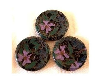 Vintage plastic buttons, 6 black buttons with colorful flowers 20mm