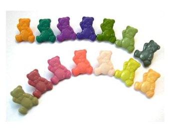 12 Vintage buttons plastic teddy bear shape, 12 colors