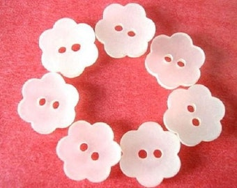 Vintage 6 buttons flower shape frosted white for button jewelry,16mm