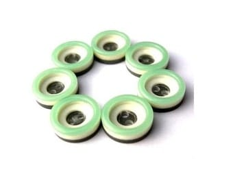 7 Vintage buttons, plastic buttons, 3 layers pattern, light green, white, grey, 13mm