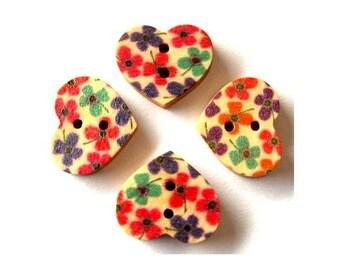 15 Wood heart shape buttons, flowers ornament
