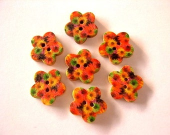 10 Buttons, flowers, wood, ornaments, for button jewelry, scrapbooking, crafts