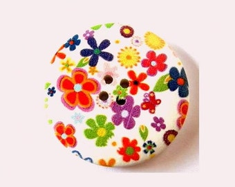 3 Wood  buttons 40mm, white, colorful flowers, for crafts,  button jewelry