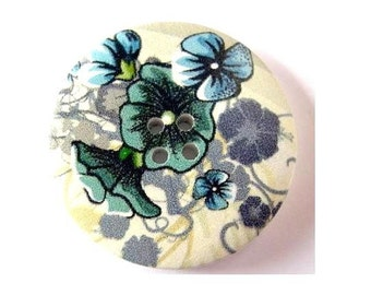 3 Wood  buttons, 40mm, white, blue black flowers