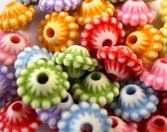 21 Beads, flowers,  set of  7 colors, 11mm, might be vintage