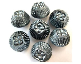 10 Buttons, vintage, black plastic covered with silver, unique shape, proper for button jewelry