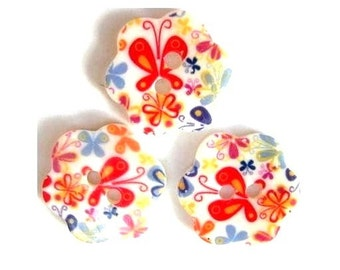 3 Shell buttons flower,  might be vintage, butterfly and flower ornaments, 18mm