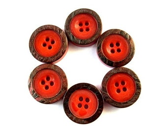Vintage buttons, 6 plastic buttons, 18mm, beautiful  rare orange color, thick with ornament