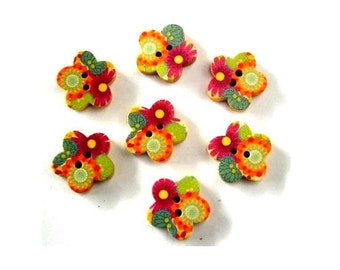 10 Wood buttons, flowers shape, wooden, ornaments, for button jewelry, scrapbooking, crafts