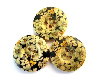 6 Wood buttons, black with flowers ornament, 25mm