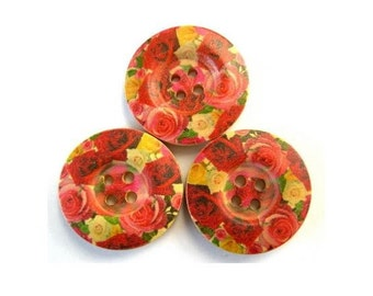 6 Wood buttons,red roses flowers ornament, 25mm